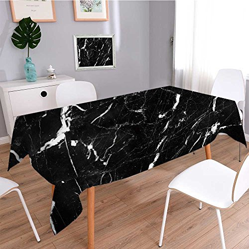 Square Linen Tablecloth,Abstract Natural Marble Black and White Black Marble Patterned Texture Background,Printed Pattern Washable Table Cloth Dinner Home Decor