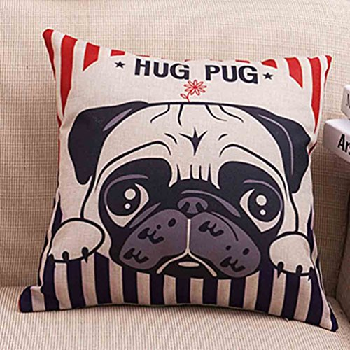 Cute Hug Pug Dog Pillowcase (one side) Soft Cotton Linen Throw Pillow Cushion Cover - Pugs Hugs
