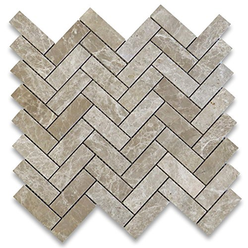 Emperador Light Marble Herringbone Mosaic Tile 1 x 3 Polished