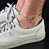 Handmade Green Anklet For Men Set With Silver Plated Feather Pendant By Galis Jewelry - Ankle Bracelet For Men - Feather Anklet For Men