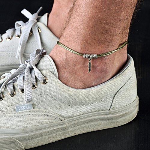 Green Handmade Bracelets - Handmade Green Anklet For Men Set With Silver Plated Feather Pendant By Galis Jewelry - Ankle Bracelet For Men - Feather Anklet For Men