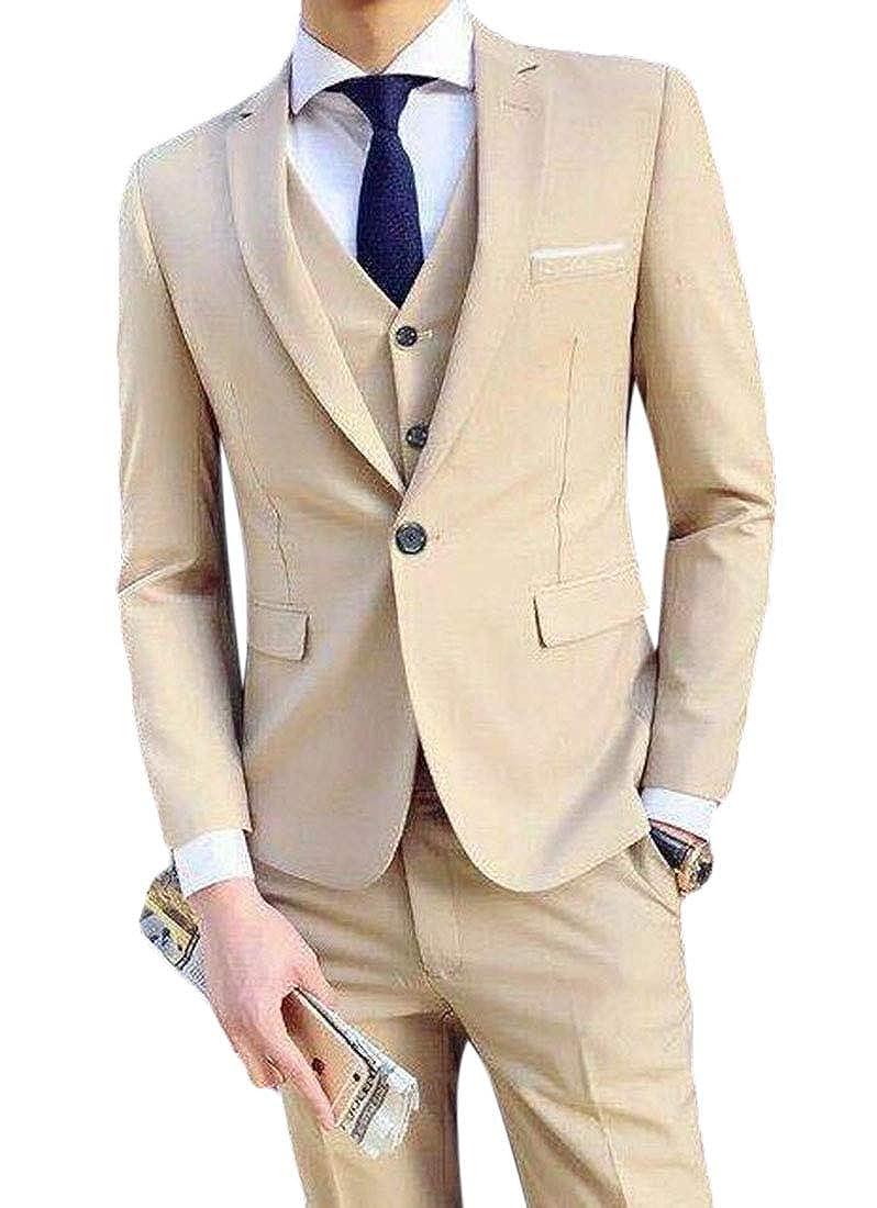 UUYUK Men 3 Piece Tuxedos Vintage Groomsmen Wedding Suit ...