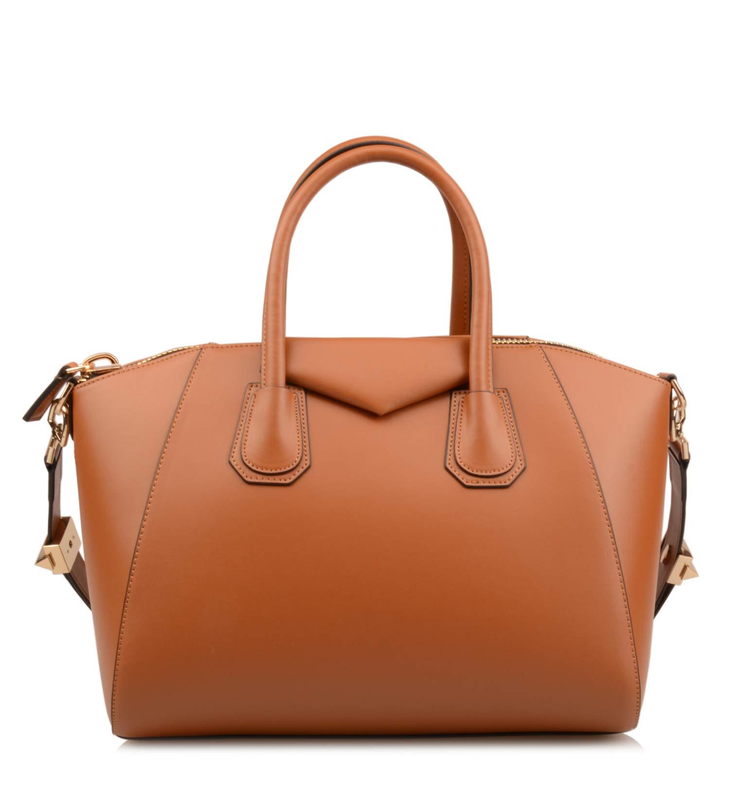 Ainifeel Women's Genuine Leather Simple Everyday Purse Top Handle Handbag Shoulder Handbags(Medium, Brown)