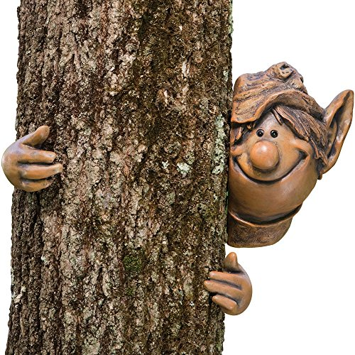 Bits and Pieces - Garden Peeker Elf Tree Hugger-Polyresin Outdoor Tree Sculpture - Whimsical Garden Decoration