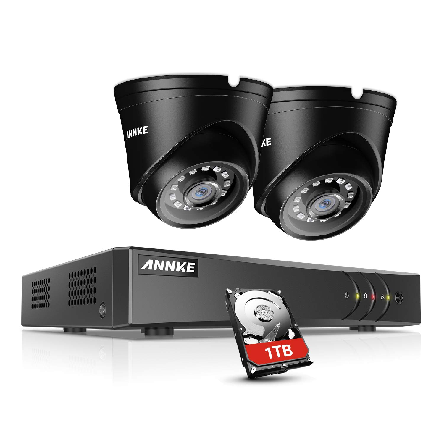 ANNKE 1080P Realtime Home Security System 4CH CCTV 1080P Lite DVR with 1TB Surveillance Hard Disk Drive and (2) 1080P Weatherproof Bullet Cameras, P2P Cloud Remote Viewing, Motion Detection