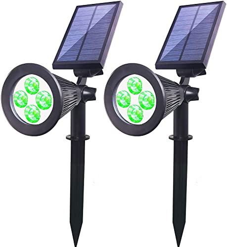 Youqian Solar Powered LED Spot Light 2 in 1 Waterproof IP65 Outdoor Security Garden Landscape Lamps, 4 LED Solar Wall Light Security Night Lights 2 Pack, Green