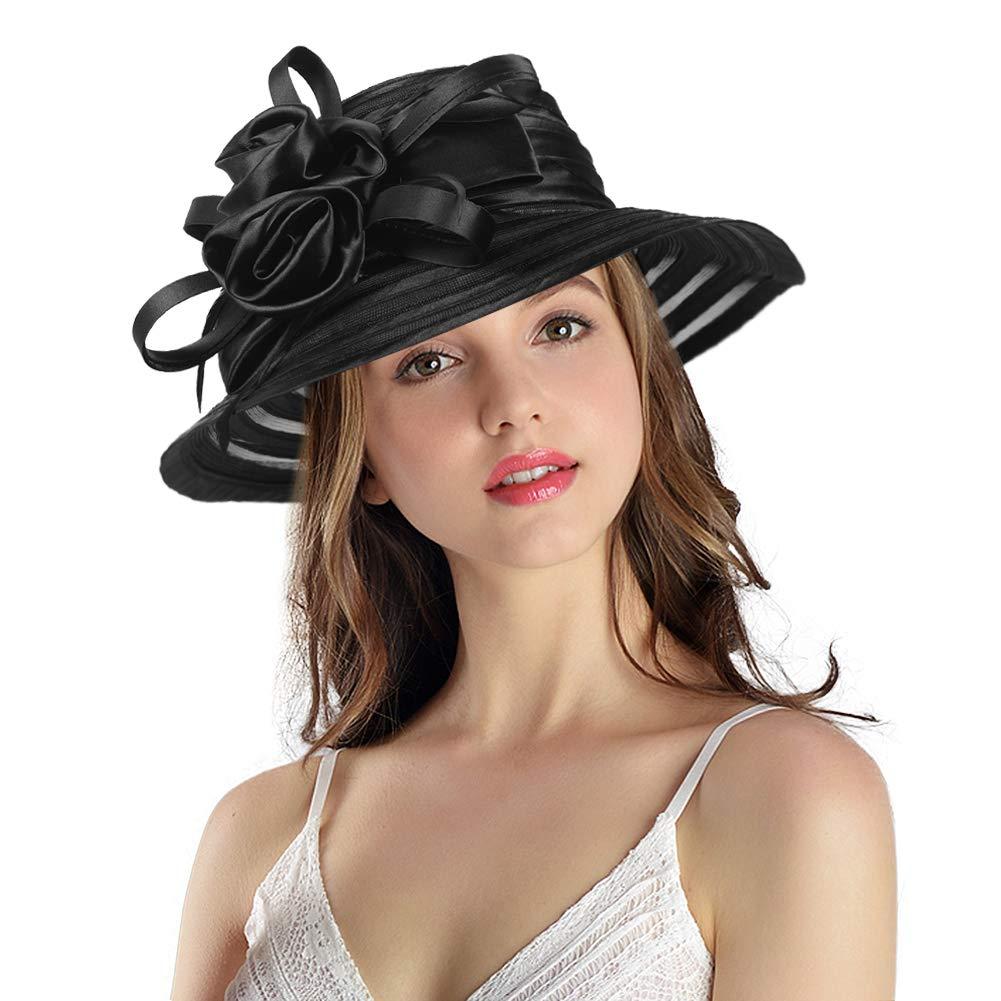 Women's Big Floral Fascinators Kentucky Derby Church Floppy Wide Brim Cloche Bowler Bucket Hat (Black)