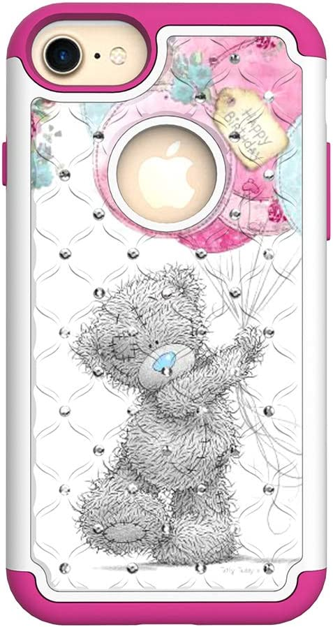 Huskylove case for iPhone 6/6s/7/8 Cute Bear Pattern Phone Dual Layer Soft TPU Hard PC Back Cover Protective Shock-Absorption Skid-Proof Anti-Scratch 4.7 Bling Rhineston (Cute Bear, ip6/6s/7/8)