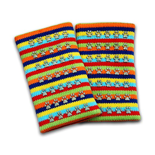 Rubber Non Skid Knee Pads (KneeBees Double Layered Cotton Knee Pads For Babies, Toddlers, Children. Rubber Traction / Grips for Crawling. Soft, Moisture Wicking, Adjustable. Unique Protective Safety Gear / Accessory. (Rainbow))