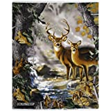 REAL TREE COTTON FABRIC BY SYKEL-REAL TREE CAMOUFLAGE DEER QUILT PANEL IN FORREST-SOLD BY THE PANEL by Sykel