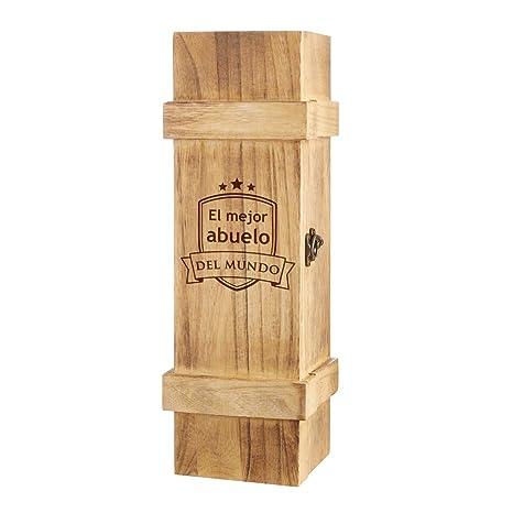 """Caja portadora para botella – """"El mejor abuelo del mundo"""" – Con escudo grabado"""