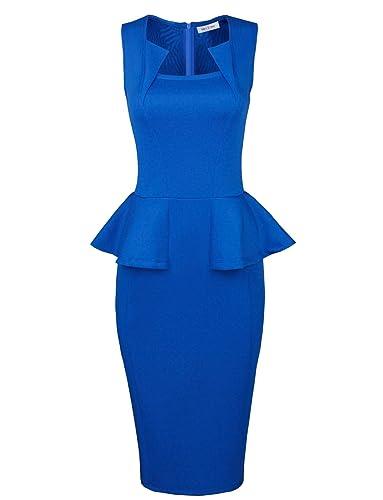 Tom's Ware Womens Classy Neck Detail Sleeveless Zip-up Midi Dress