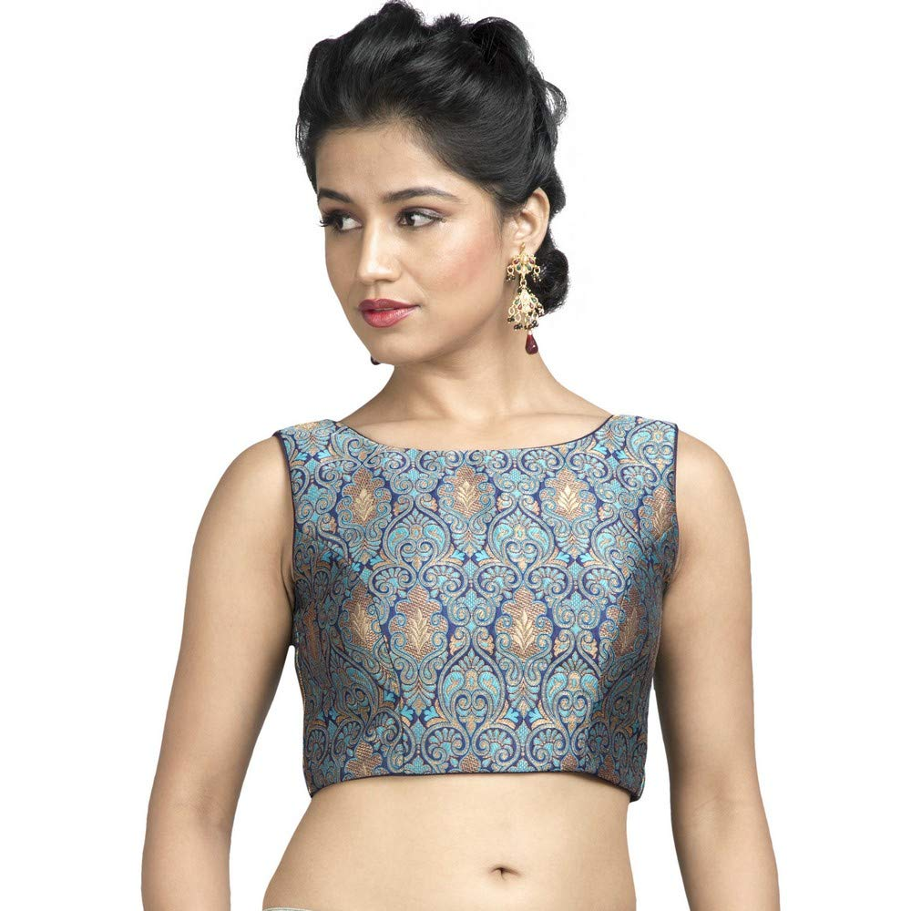 bluee Designer Indian Traditional Brocade Silk Padded Sleeveless Saree Blouse Choli (X515Ns) Multiple colors Available
