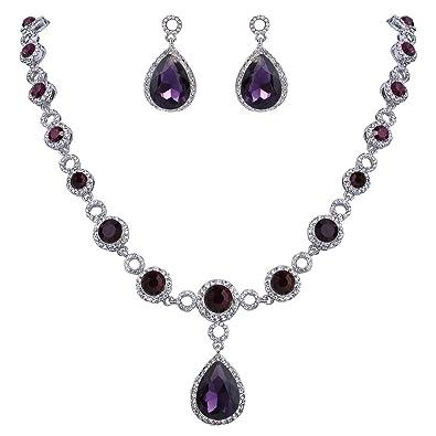 Clearine Women's Fashion Wedding Bride Crystal Infinity Figure 8 Y-Necklace Bracelet Dangle Earrings Set nJX7D9i5