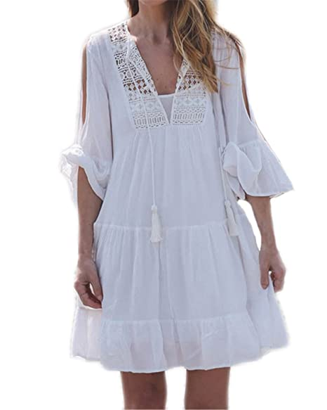0d3ce06db9 Auxo Womens Bohemian Dress Crochet Lace Cold Shoulder Half Sleeve Short  Dress Cover Up White 2XL