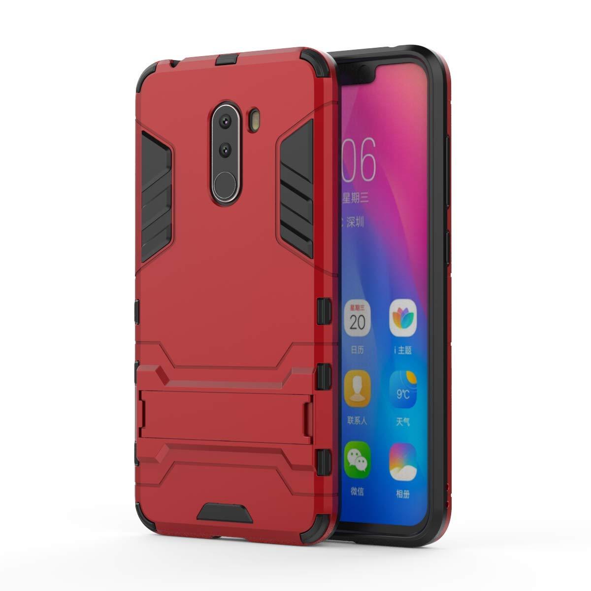 HUUH Funda Xiaomi Pocophone F1,Carcasa Xiaomi Pocophone F1 Stent Invisible TPU + PC combinación Aspecto,Ajuste Simple Elegante Generoso fuselaje(Rojo)