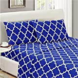 Mellanni Bed Sheet Set Full-Imperial-Blue Brushed Microfiber Printed Bedding - Deep Pocket, Wrinkle, Fade, Stain Resistant - Hypoallergenic - 4 Piece (Full, Quatrefoil Imperial Blue)