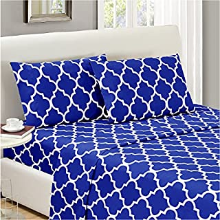 Mellanni Bed Sheet Set Imperial-Blue - Brushed Microfiber Printed Bedding - Deep Pocket, Wrinkle, Fade, Stain Resistant - 3 Piece (Twin XL, Quatrefoil Imperial Blue) (B01E7UJDAG) | Amazon price tracker / tracking, Amazon price history charts, Amazon price watches, Amazon price drop alerts