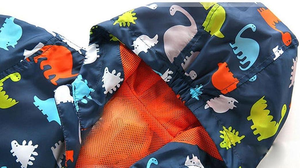 Kehen Boys Girls Dinosaur Print Zip Jacket Hooded Windproof Raincoat Toddler Baby Long Sleeve Hoodie Trench Coat