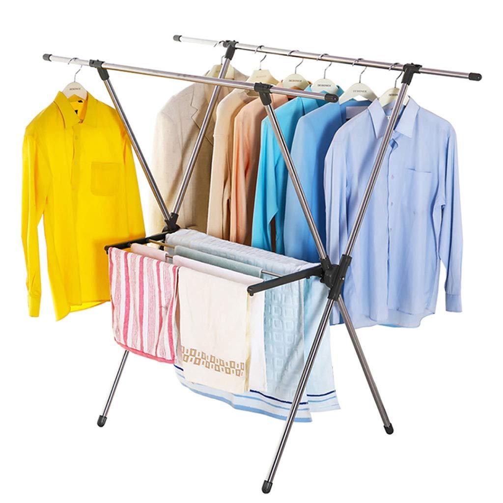 折りたたみ可能な「X」タイプの衣服アイレアーステンレススチール洗濯乾燥ラック洗濯ライン96155cmハンガー乾燥タオルレール(室内または屋外用) 100KGをロード B07KK8RXCF