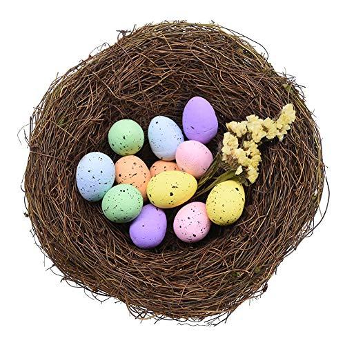 FUTUREPLUSX Rattan Birds Nest, 1PCS Crafts Handmade Natural Easter Birds Nest for Garden Yard Home Party Easter Decor