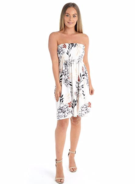 a3eff1148e Girltalk Clothing Women s Floral Print Bandeau Summer Mini Top Dress at  Amazon Women s Clothing store