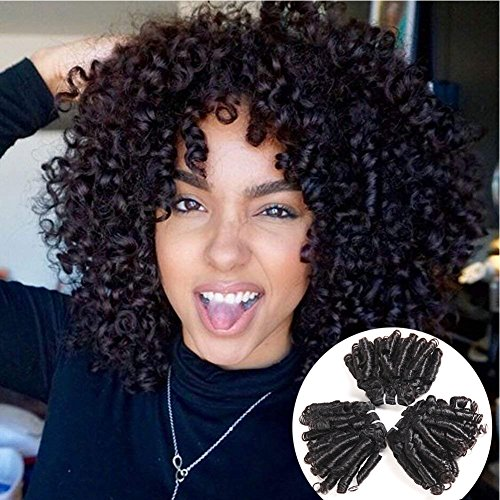 Brazilian Virgin Bouncy Curl Human Hair Funmi Hair 4 Bundles 10A Romance Curls 100% Unprocessed Curly Weave Short Bob Hairstyles Loose Wave Hair Extensions 50g/Pc Natural Black Color (8 10 12 14)