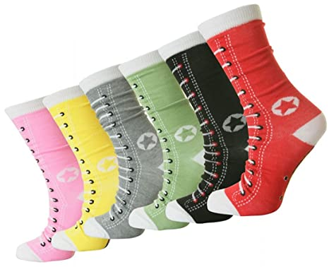 12 Pairs Ladies Women/'s Designer Everyday Cotton Blend Colorred Socks UK 4-7