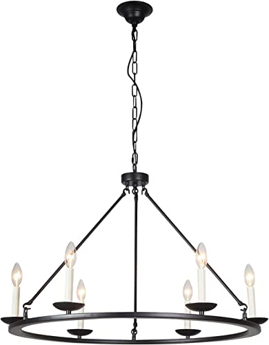 Kitchen Island Pendant Light, A1A9 Retro Round Candle LED Chandelier Lighting Wagon Wheel Ceiling Lights for Farmhouse, Dining Room, Table Light, in Entryway, Hallway, Foyer, D30 X H23 Chain 59