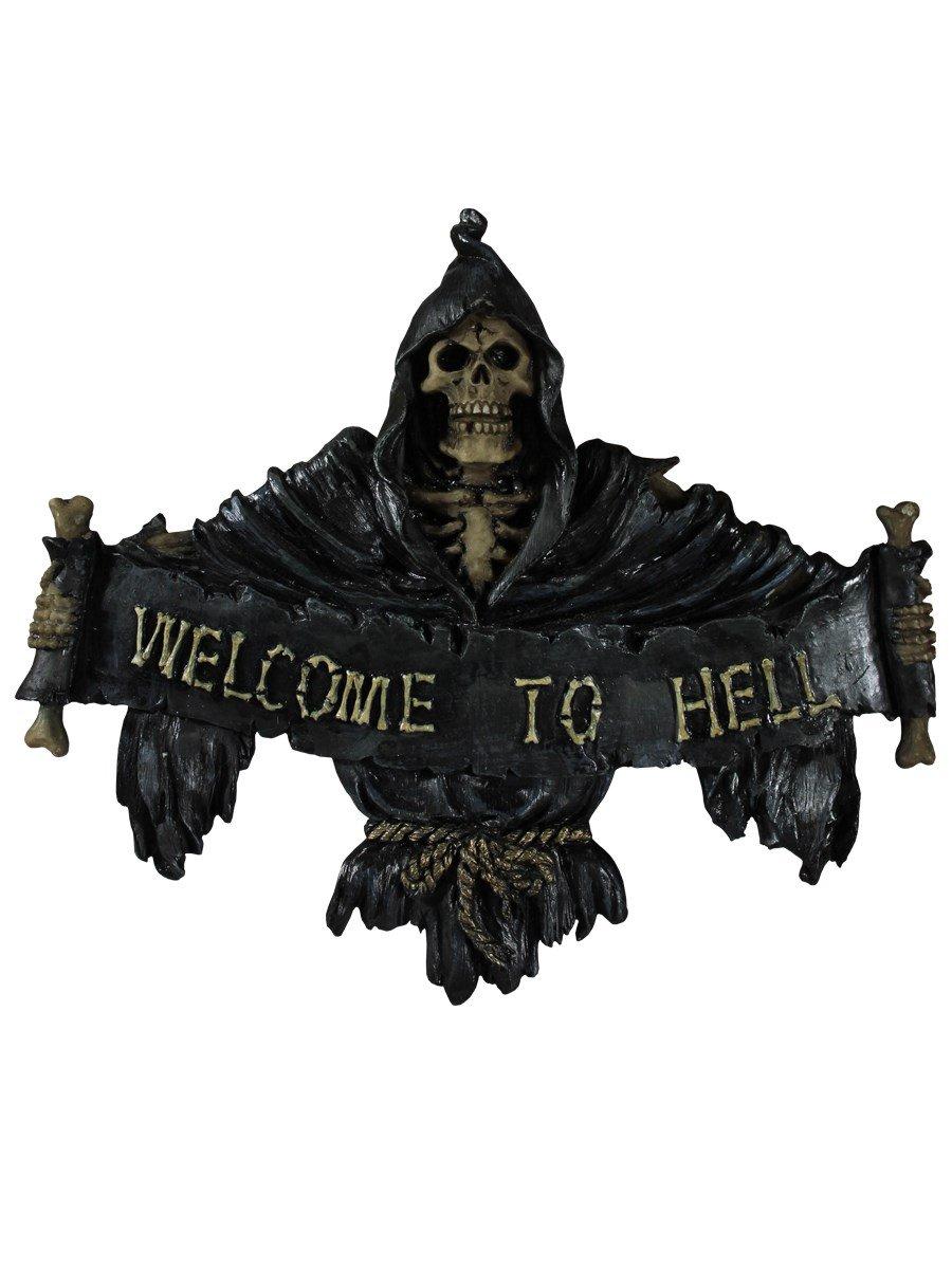 Schwarz 22 cm Nemesis Now Welcome to Hell Schild 26 cm