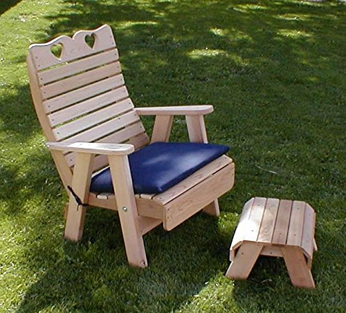 Cedar Country Hearts Patio Chair and Footrest Set Country Heart Patio Chair