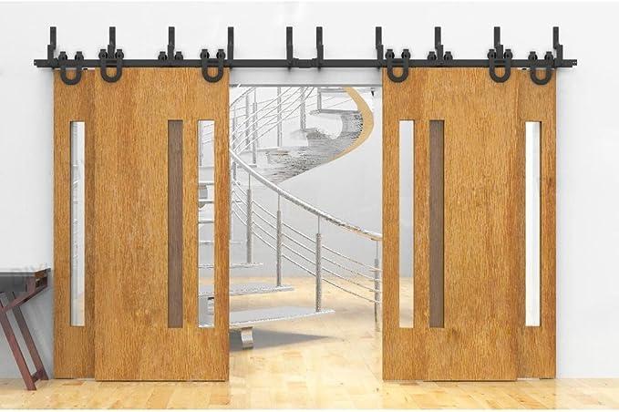 winsoon overlop negro forma de U acero rodillo de puerta corredera pista hardware para cuatro puertas de madera Kit de rodamientos metales pesados: Amazon.es: Bricolaje y herramientas