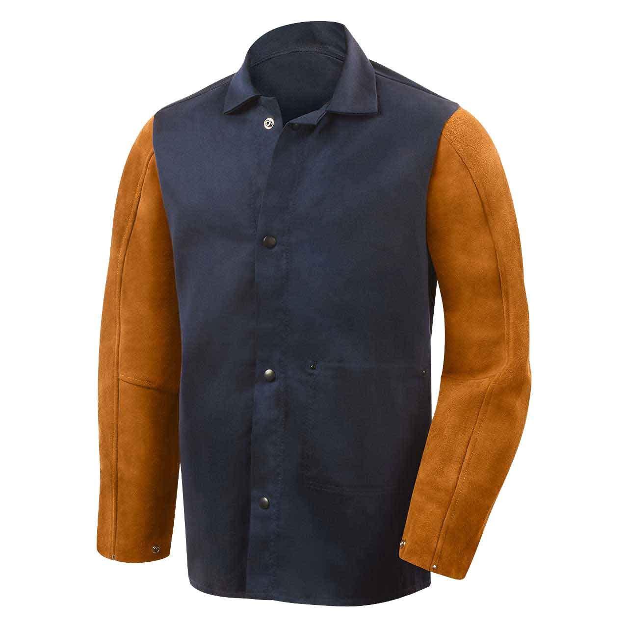 Steiner 1260-X 30-Inch Jacket, Weldlite Plus Navy Cotton, Rust Cowhide Sleeves, Extra Large