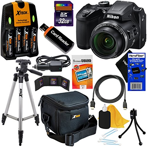 Nikon COOLPIX B500 Wi-Fi, NFC Digital Camera w/40x Zoom & HD Video (Black) - International Version (No Warranty) + 4 AA Batteries with Charger + 10pc 32GB Dlx Accessory Kit - With Wifi Nikon Camera