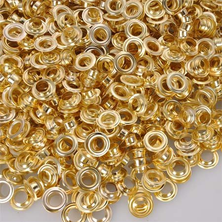 1/2'' (Brass or Nickel) 1000 Grommets and 1000 Washers (brass)