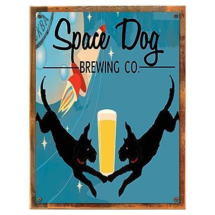 Espacio perro de la infusión Empresa metal Sign, Retro, Rocket, bar ...