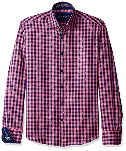 (Stone Rose Men's Long Sleeve Fil Coupe Check Button Down Shirt, Pink, Medium)