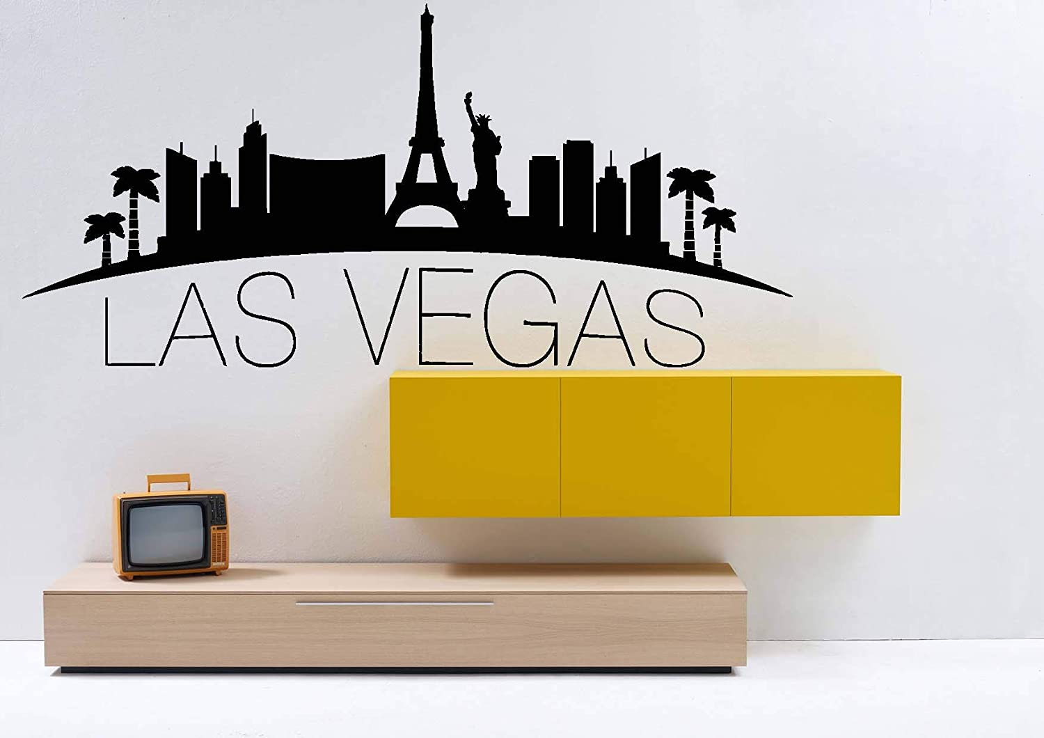 Amazon com wall decals decor las vegas city skyline decal usa vinyl sticker mural wall art wall decal home decor bedroom dorm decor custom room njs60 home