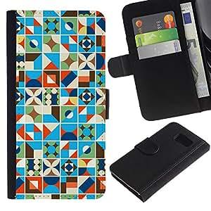 UberTech / Samsung Galaxy S6 SM-G920 / Quilted Blue Blanket Pattern Lines / Cuero PU Delgado caso Billetera cubierta Shell Armor Funda Case Cover Wallet Credit Card