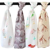LifeTree babydoekjes, 4 stuks, 70 x 70 cm, mousseline-deken, opstotendoek, inbakerdoeken voor jongens en meisjes