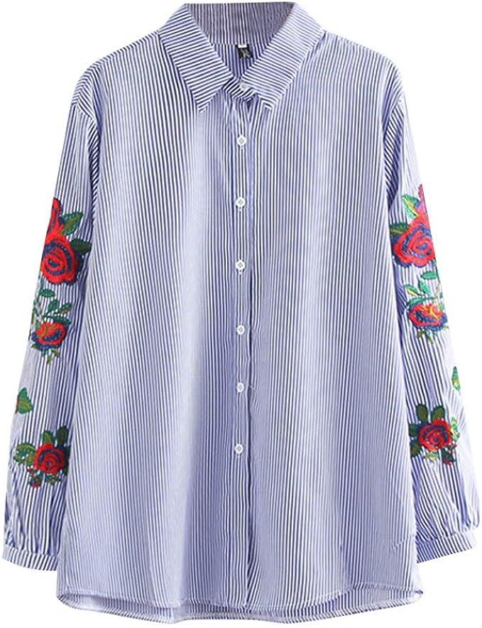 Amazon.com: Camisa de manga larga con bordado a rayas, para ...
