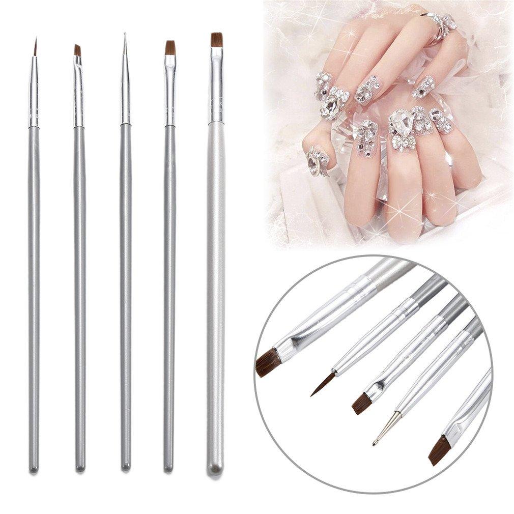 5Pcs/Set Painting Silver Brush Nail Art 3D Manicure Design Draw Paint Pen Nail Polish Builder Manicure Tool