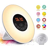 SOLMORE Alarm Clock Wake Up Light LED Night Light 6 Natural Sounds 7 Colors 10 Adjustable Brightness Sunrise / Sunset Simulation FM Radio Alarm Clocks UK Plug