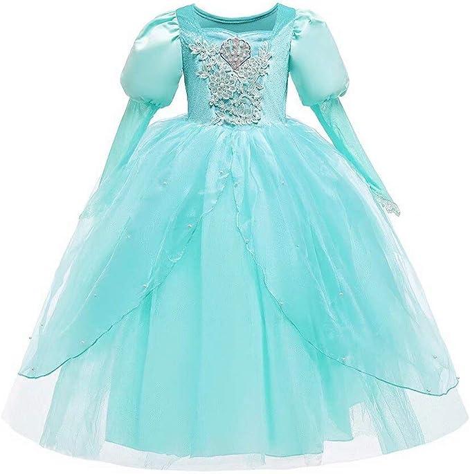 Disfraz de Sirena de Princesa de Manga Larga para niñas y niños ...
