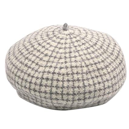 Cappello Femminile Autunno e Inverno Berretto di Lana Ottagonale Leone  Britannico Plaid Dolce Zucca Pittore Regalo c4484328732b