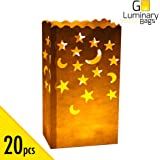 20pcs Luminary Candle Bags Special Lantern Luminary Bag with Stars Moon Durable and Reusable Fire-Retardant Cotton Material Superb for Wedding Valentine Reception Engagement Event or Marriage Proposal