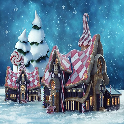 - Leowefowa 5X5FT Gingerbread House Backdrop Lollipops Candy Cane Christmas Backdrops for Photography Winter Falling Snowflakes Vinyl Photo Background Boys Girls Studio Props