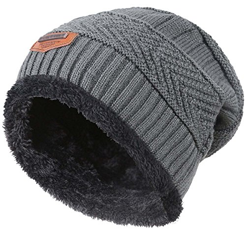 Winter Beanie for Girls Boys Kids (5-14 Years) Warm Snow Knit Hats Windproof HINDAWI Slouchy Skull Cap Grey (Boys Beanie)