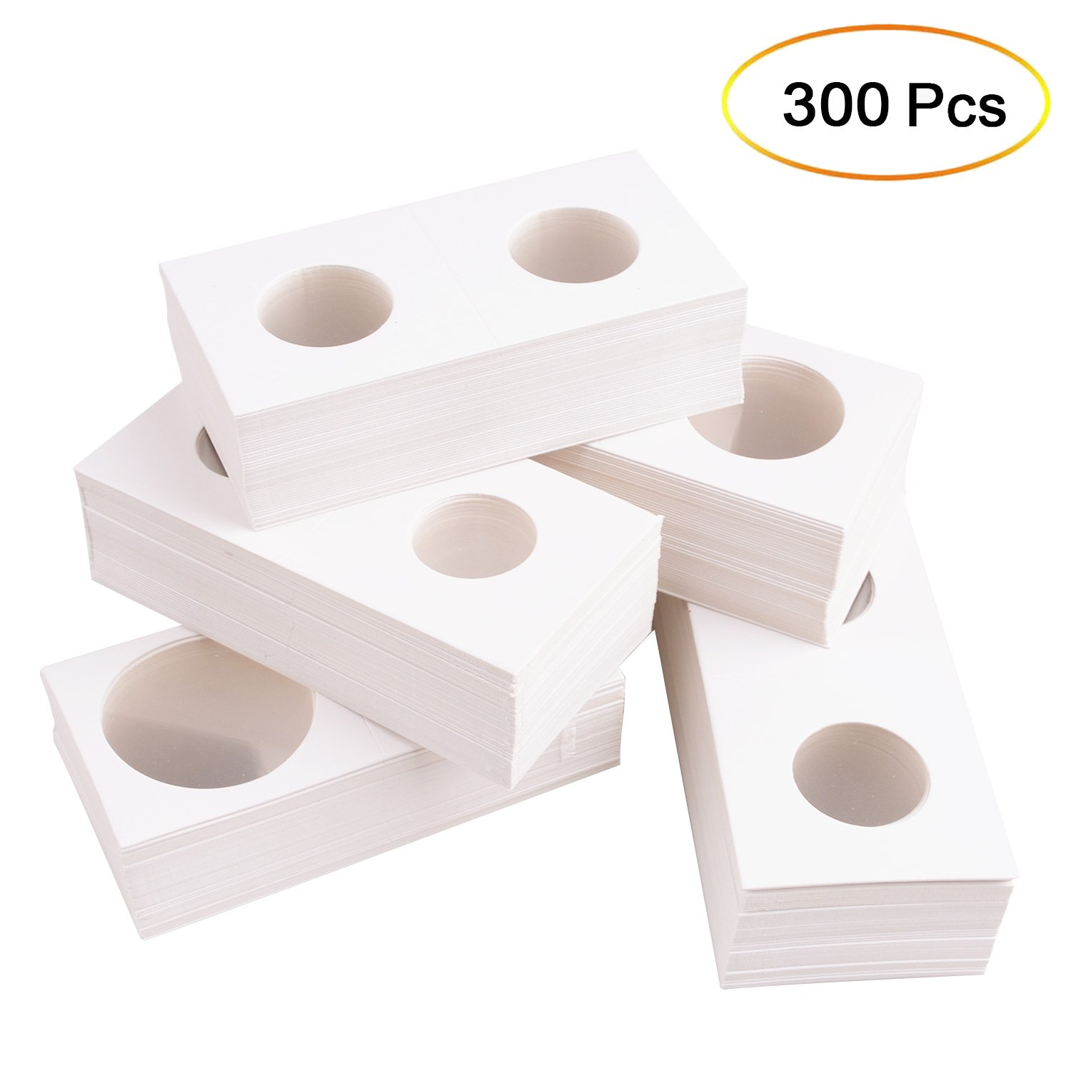 Qibote 300 Pieces Cardboard Coin Holder Flip Mega Assortment for Coin Collection Supplies, 2 x 2 inch (6 Sizes)
