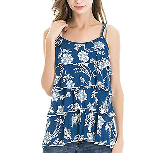 47046f4cb240a Maternity Camisole Tops Strap Floral Layer Ruffle Flowy Breastfeeding  Pregnant Blouse (Blue, S)